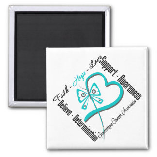 Gynecologic Cancer Faith Hope Love Butterfly 2 Inch Square Magnet