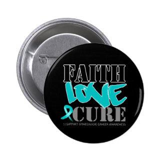 Gynecologic Cancer Faith Love Cure Pinback Button
