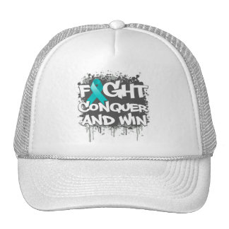Gynecologic Cancer Fight Conquer and Win Trucker Hat