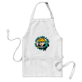 Gynecologic Cancer Fight Like A Girl Attitude Adult Apron