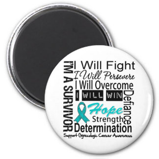 Gynecologic Cancer Fight Persevere Overcome Win 2 Inch Round Magnet