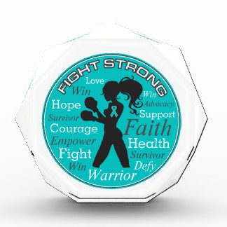 Gynecologic Cancer Fight Strong Motto Collage Acrylic Award
