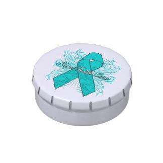 Gynecologic Cancer Flourish Hope Faith Cure Jelly Belly Candy Tins