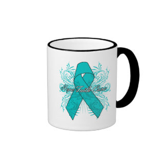 Gynecologic Cancer Flourish Hope Faith Cure Ringer Coffee Mug