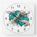 Gynecologic Cancer Hope Faith Dual Hearts Wall Clock