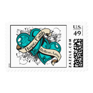 Gynecologic Cancer Hope Faith Dual Hearts Postage Stamps