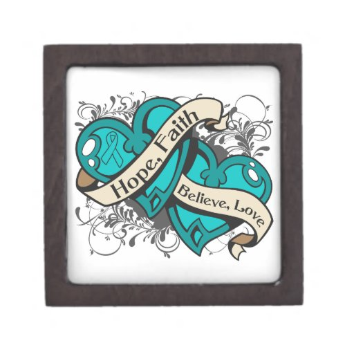 Gynecologic Cancer Hope Faith Dual Hearts Premium Keepsake Box