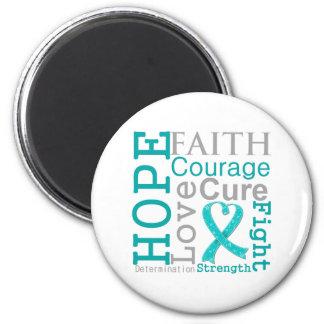 Gynecologic Cancer Hope Faith Motto 2 Inch Round Magnet