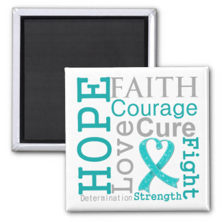 Gynecologic Cancer Hope Faith Motto 2 Inch Square Magnet