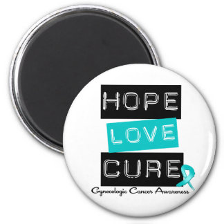 Gynecologic Cancer Hope Love Cure 2 Inch Round Magnet