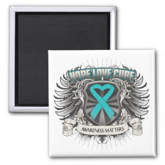 Gynecologic Cancer Hope Love Cure 2 Inch Square Magnet