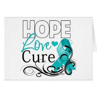 Gynecologic Cancer Hope Love Cure Greeting Card
