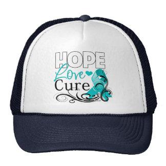 Gynecologic Cancer Hope Love Cure Trucker Hat