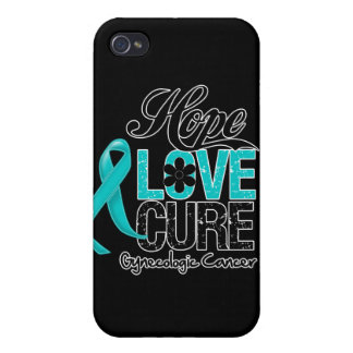 Gynecologic Cancer Hope Love Cure iPhone 4 Case