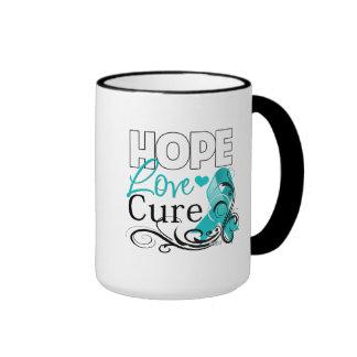Gynecologic Cancer Hope Love Cure Ringer Coffee Mug