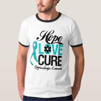 Gynecologic Cancer Hope Love Cure T-shirt