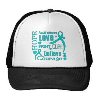 Gynecologic Cancer Hope Words Collage Trucker Hat