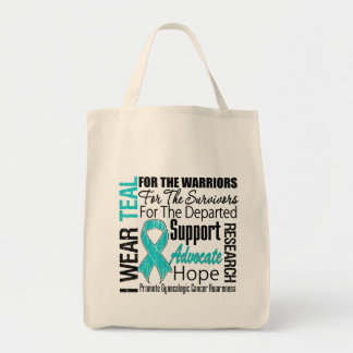 Gynecologic Cancer I Wear Teal Ribbon TRIBUTE Bag
