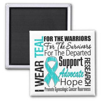 Gynecologic Cancer I Wear Teal Ribbon TRIBUTE Fridge Magnets