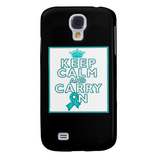 Gynecologic Cancer Keep Calm and Carry ON Galaxy S4 Cases