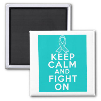 Gynecologic Cancer Keep Calm and Fight On 2 Inch Square Magnet