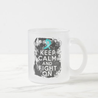 Gynecologic Cancer Keep Calm and Fight On 10 Oz Frosted Glass Coffee Mug