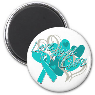 Gynecologic Cancer Love Hope Cure 2 Inch Round Magnet