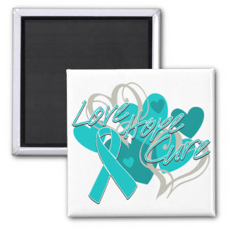 Gynecologic Cancer Love Hope Cure 2 Inch Square Magnet
