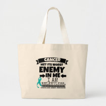 Gynecologic Cancer Met Its Worst Enemy In Me Large Tote Bag