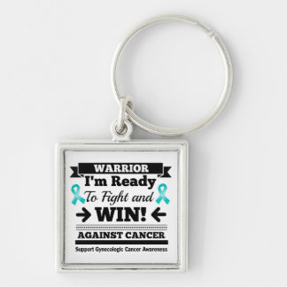 Gynecologic Cancer Ready To Fight and Win Silver-Colored Square Keychain