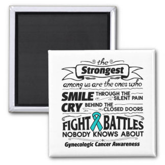 Gynecologic Cancer Strongest Among Us 2 Inch Square Magnet