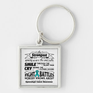 Gynecologic Cancer Strongest Among Us Silver-Colored Square Keychain
