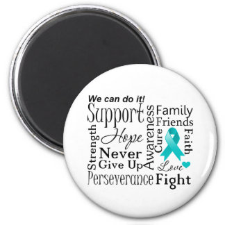 Gynecologic Cancer Supportive Words 2 Inch Round Magnet