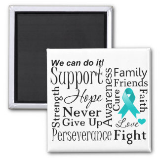 Gynecologic Cancer Supportive Words 2 Inch Square Magnet
