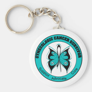 Gynecologic Cancer Survivor Butterfly Circle Keychain