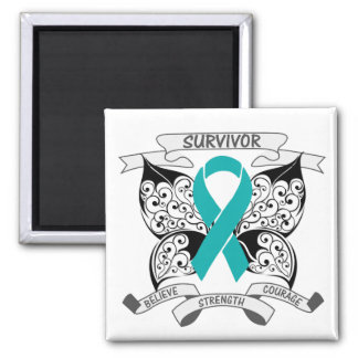 Gynecologic Cancer Survivor Butterfly Strength 2 Inch Square Magnet
