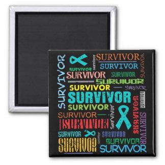 Gynecologic Cancer Survivor Collage.png 2 Inch Square Magnet