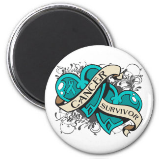 Gynecologic Cancer Survivor Dual Hearts 2 Inch Round Magnet
