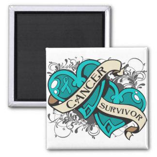 Gynecologic Cancer Survivor Dual Hearts 2 Inch Square Magnet