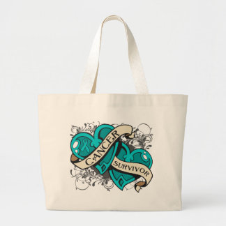 Gynecologic Cancer Survivor Dual Hearts Jumbo Tote Bag