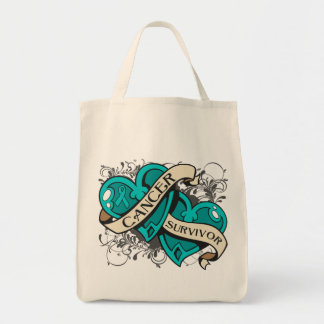 Gynecologic Cancer Survivor Dual Hearts Grocery Tote Bag
