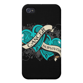 Gynecologic Cancer Survivor Dual Hearts iPhone 4 Covers