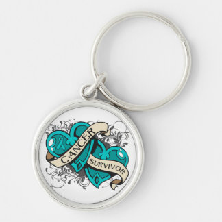Gynecologic Cancer Survivor Dual Hearts Silver-Colored Round Keychain