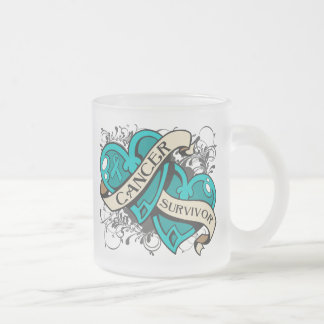 Gynecologic Cancer Survivor Dual Hearts 10 Oz Frosted Glass Coffee Mug
