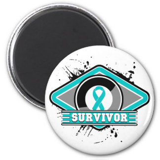Gynecologic Cancer Survivor Grunge Logo 2 Inch Round Magnet