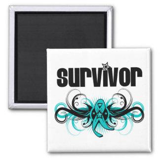 Gynecologic Cancer Survivor Grunge Winged Emblem 2 Inch Square Magnet