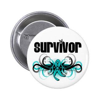 Gynecologic Cancer Survivor Grunge Winged Emblem Buttons