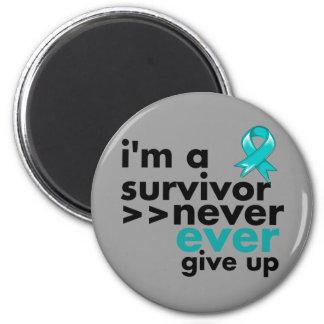 Gynecologic Cancer Survivor Never Give Up 2 Inch Round Magnet