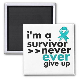 Gynecologic Cancer Survivor Never Give Up 2 Inch Square Magnet