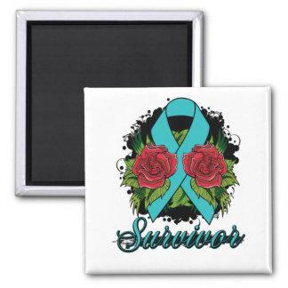 Gynecologic Cancer Survivor Rose Grunge Tattoo 2 Inch Square Magnet
